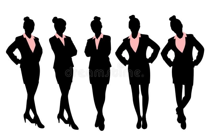 Silhouette de femme d'affaires illustration stock