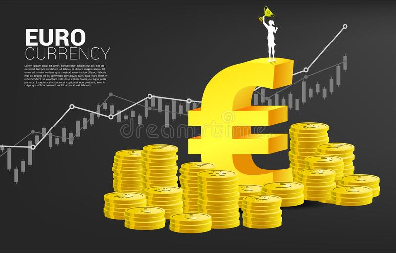 Silhouette de femme d'affaires avec la tasse de trophée sur l'euro icône de devise d'argent Concept des affaires de succès et de  illustration stock