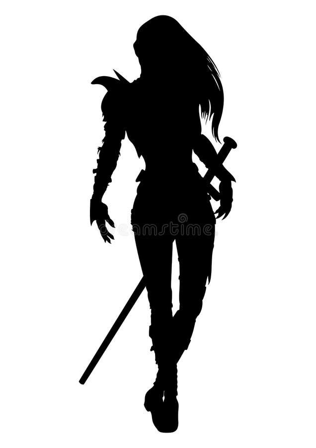 Silhouette de femme de chevalier illustration libre de droits