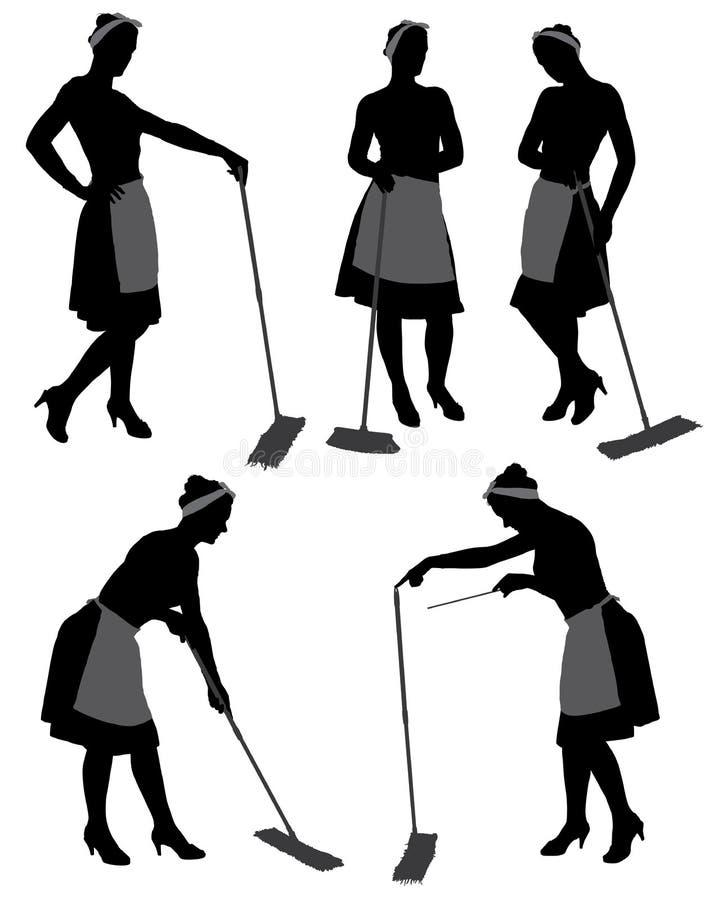 Silhouette de femme de ménage images stock