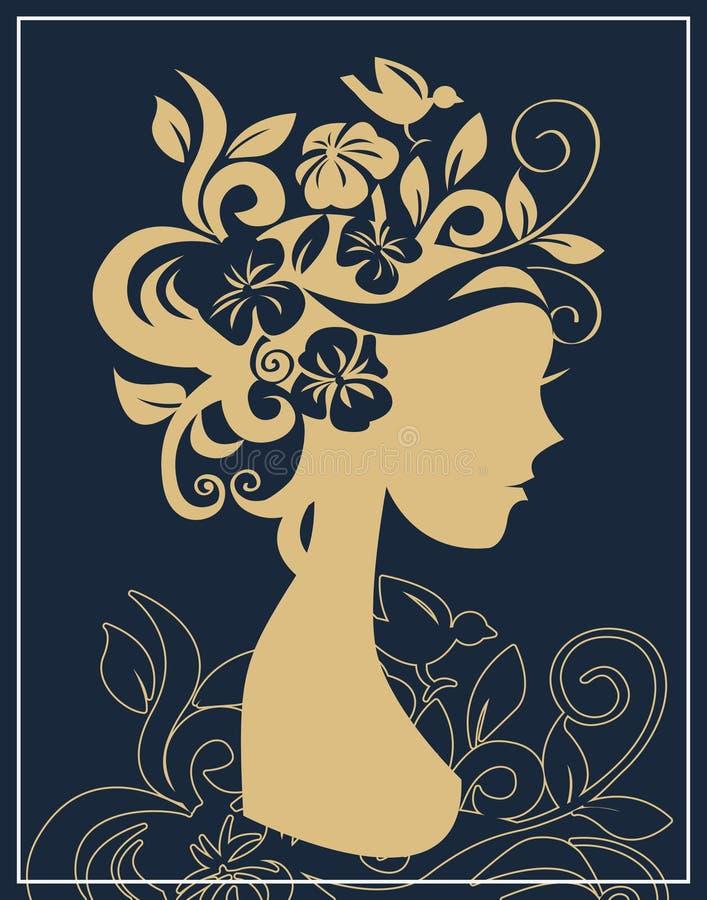Silhouette de femme en fleurs illustration de vecteur
