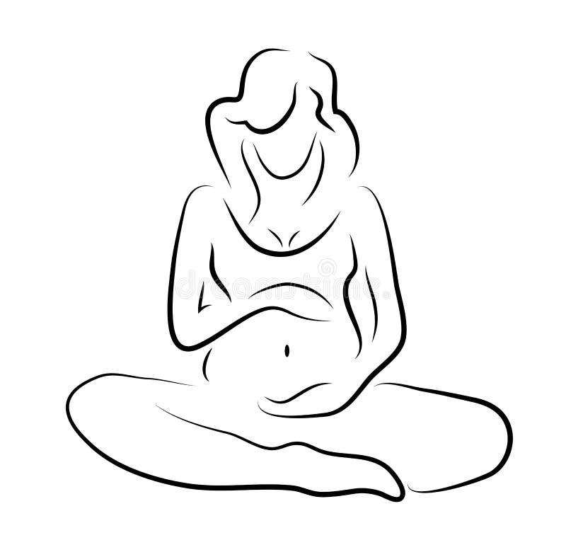 Silhouette de femme enceinte, symbole de vecteur illustration de vecteur