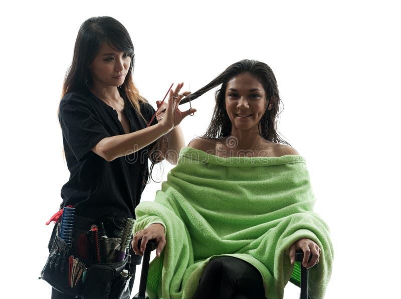 Silhouette de femme et de coiffeur images stock