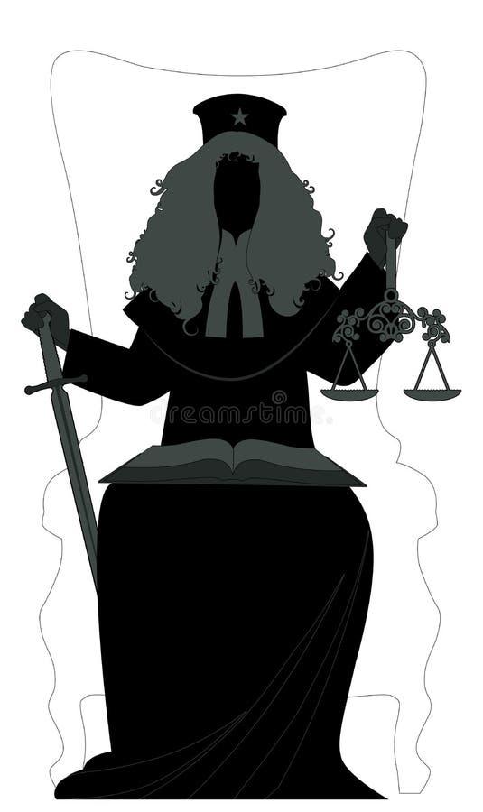 Silhouette de femme habillée dans une perruque et des vêtements du juge, tenant une épée dans une main et une échelle dans des au illustration libre de droits