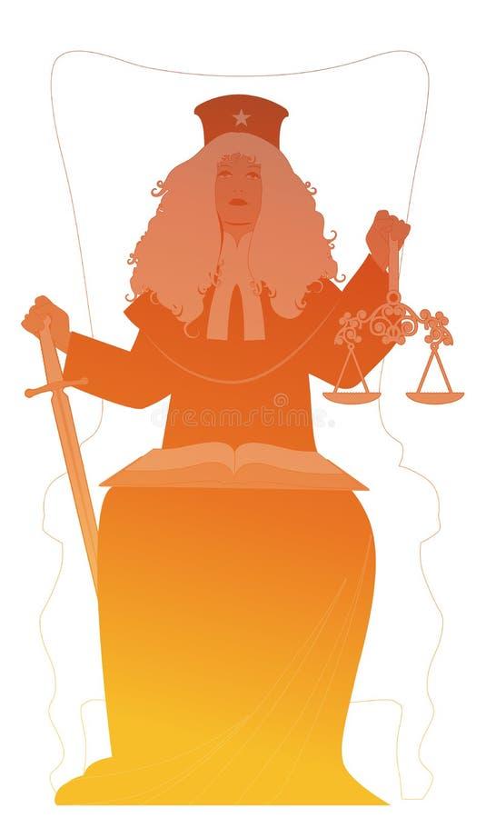 Silhouette de femme habill?e dans une perruque et des v?tements du juge, tenant une ?p?e dans une main et une ?chelle dans des au illustration stock