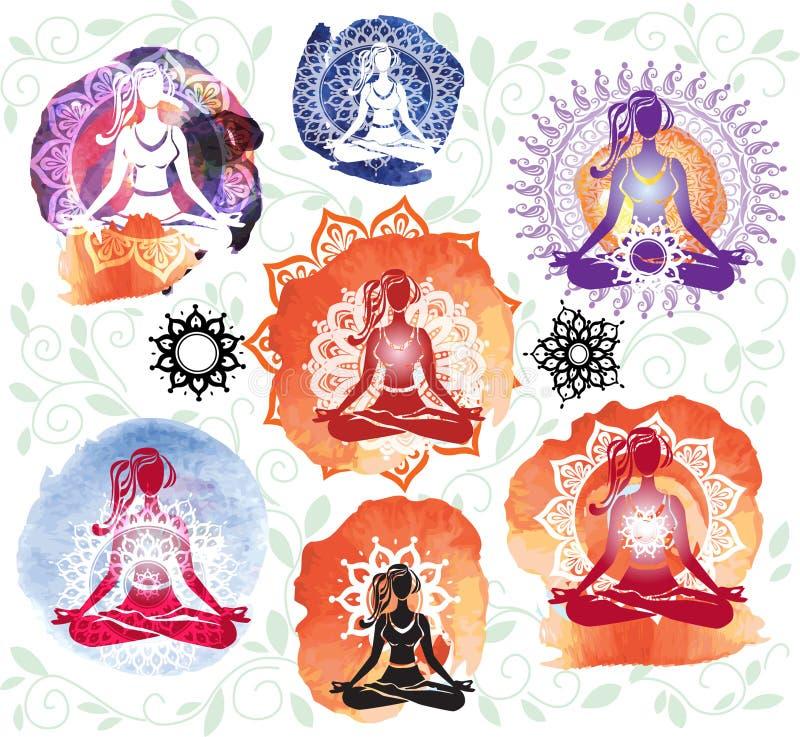 Silhouette de femme méditant en position de lotus illustration de vecteur