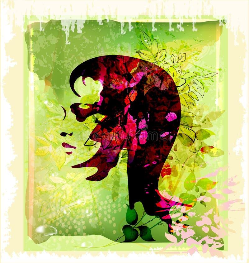 Silhouette de femme sur le fond floral illustration libre de droits