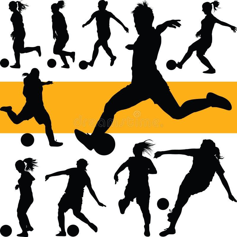 Silhouette de femmes du football le football de jeu de fille photo libre de droits