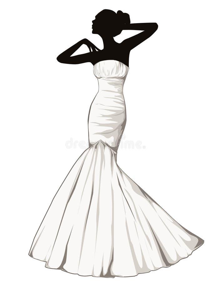 Silhouette de fille élégante dans une robe de mariage illustration de vecteur
