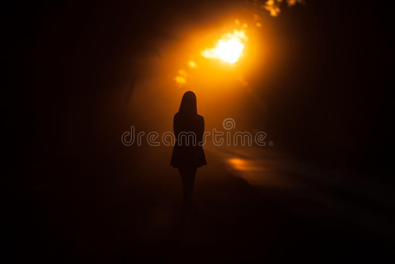 Silhouette de fille photographie stock