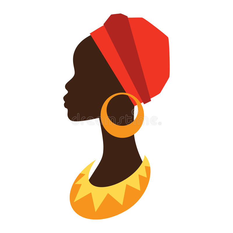 Silhouette de fille africaine dans le profil avec illustration stock