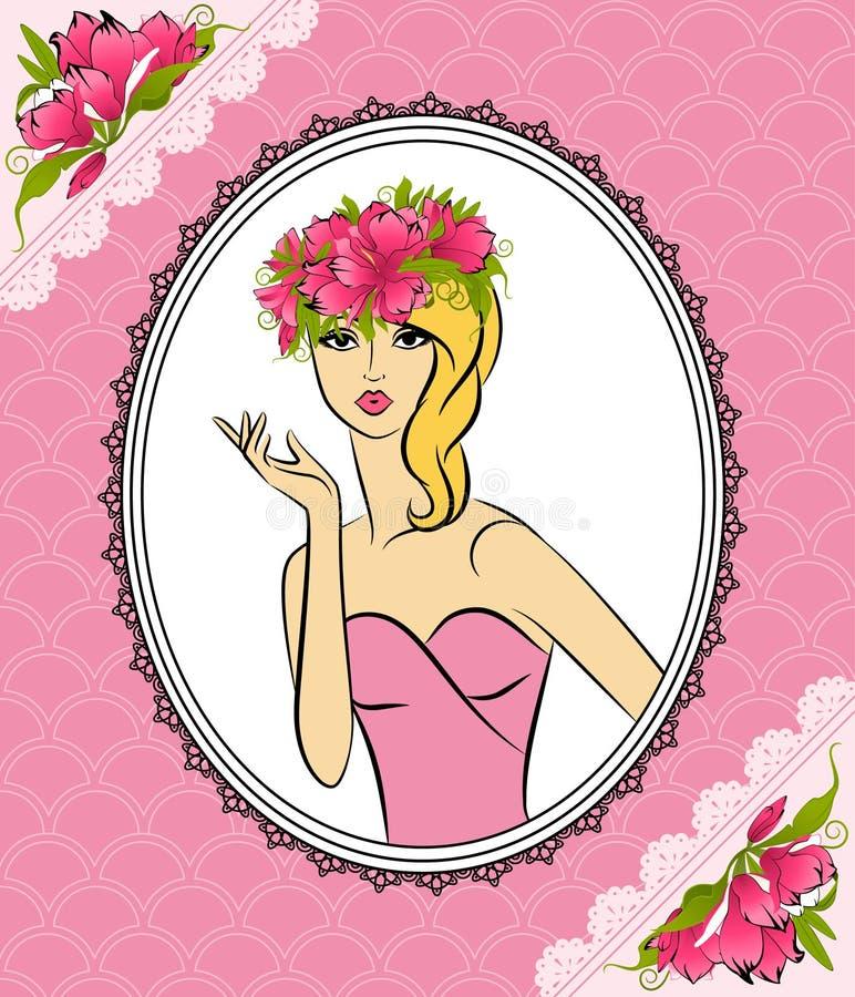 Silhouette de fille avec des fleurs illustration stock