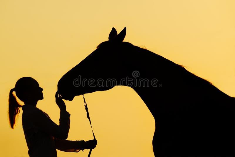 Silhouette de fille avec le cheval au coucher du soleil image stock