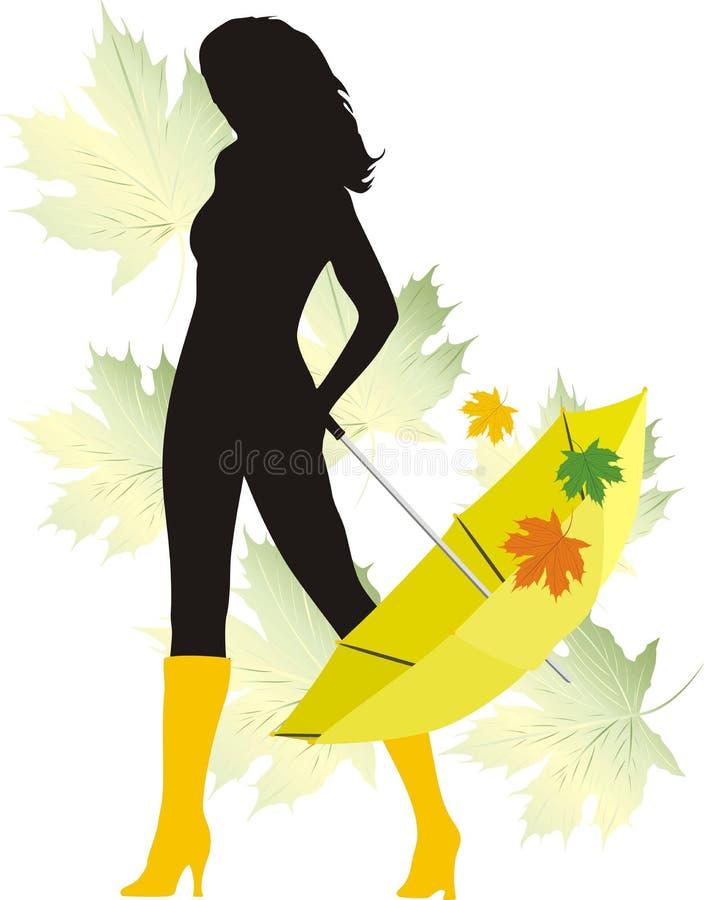 Silhouette de fille avec le parapluie. Automne illustration libre de droits