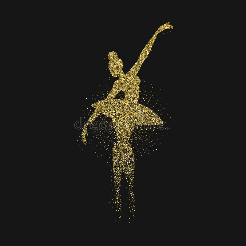 Silhouette de fille de ballerine faite en scintillement d'or illustration stock