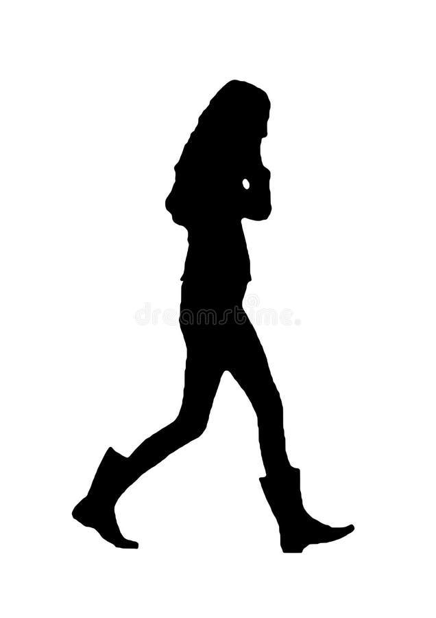 Silhouette de fille dans les bottes sur la marche de téléphone illustration de vecteur