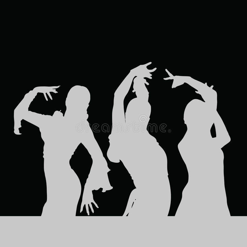 Silhouette de fille de danse de flamenco sur le noir illustration stock