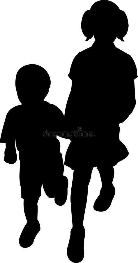 Silhouette de fille et de garçon photo libre de droits