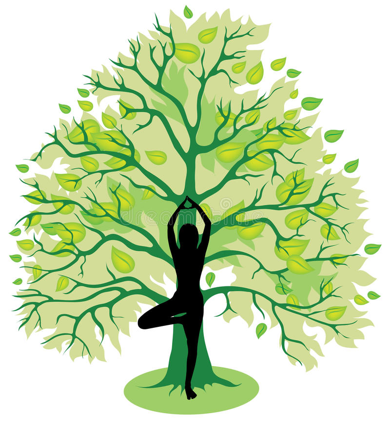 Pose de yoga d'arbre illustration libre de droits