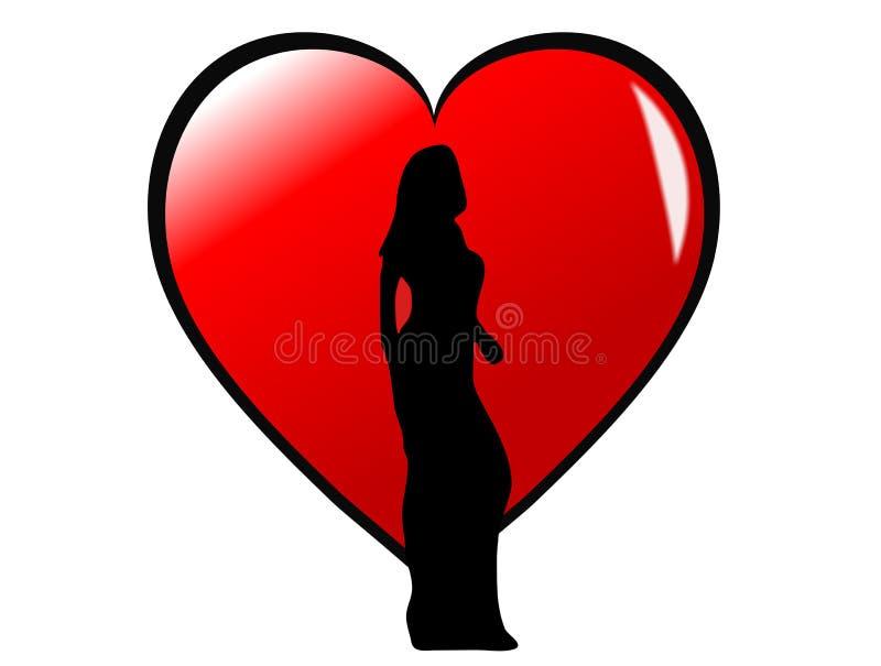 Silhouette de fille sur un coeur illustration de vecteur