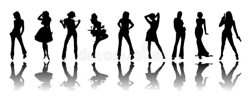 silhouette de filles illustration stock