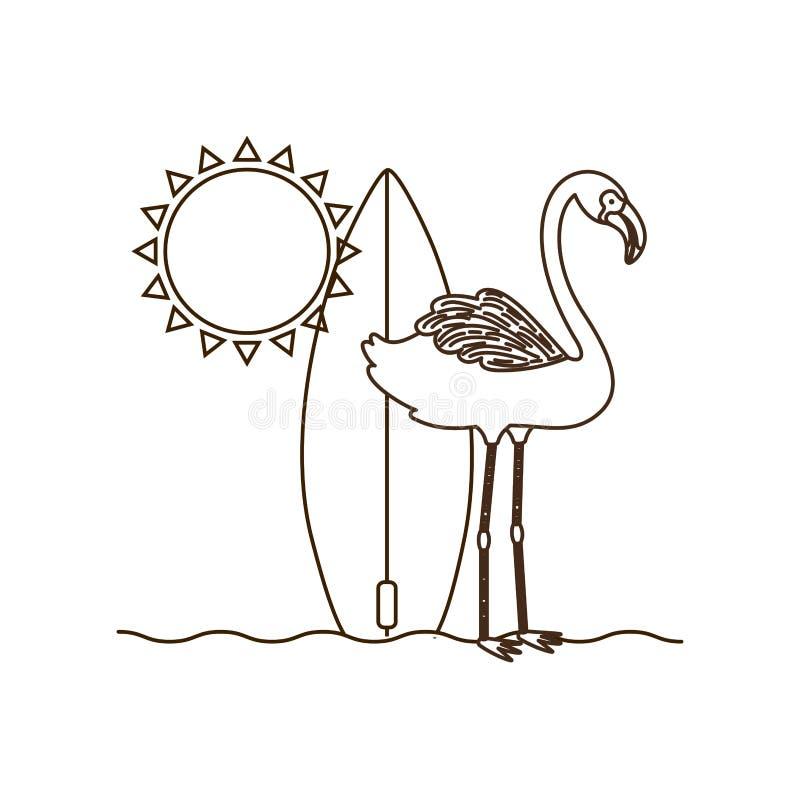 Silhouette de Flamand avec la planche de surf illustration libre de droits