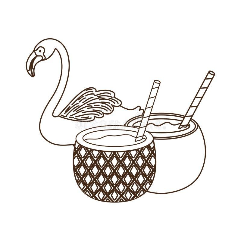 Silhouette de Flamand avec le cocktail illustration libre de droits