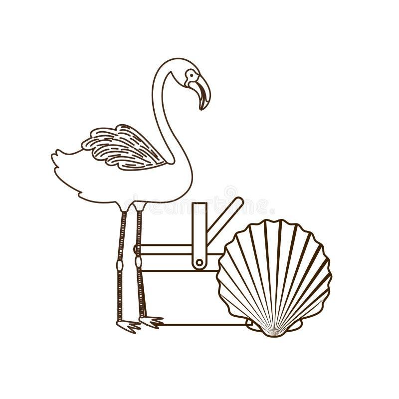 Silhouette de Flamand avec le panier de pique-nique illustration stock