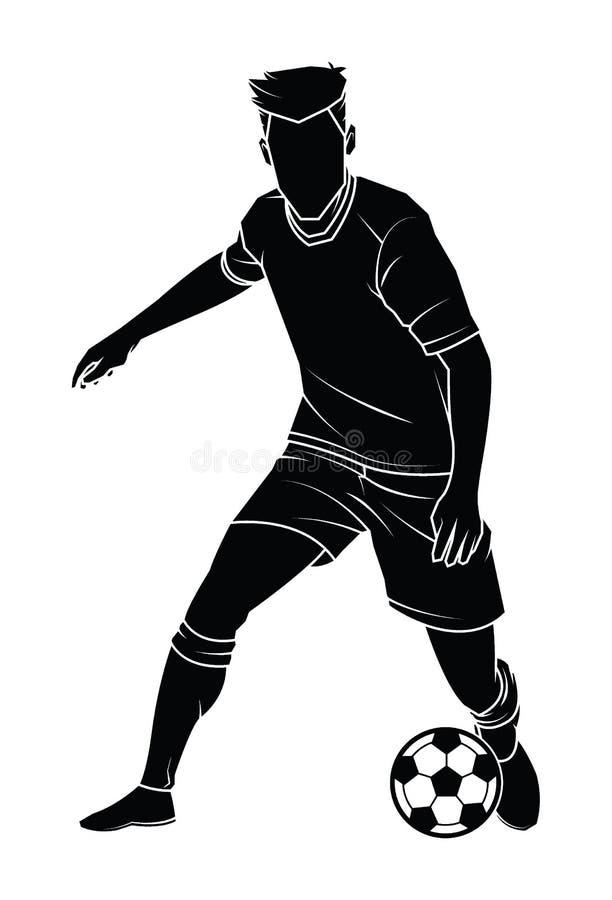 Silhouette de footballeur du football avec la boule illustration de vecteur