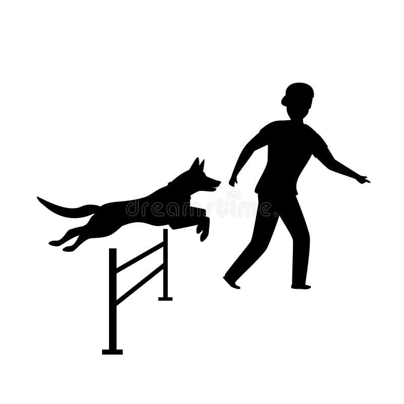 Silhouette de formation de chien d'agilité illustration stock