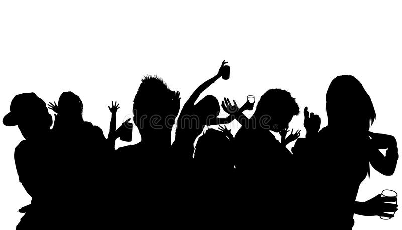 Silhouette de foule de danse illustration stock