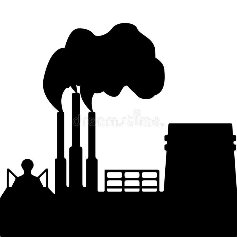 Silhouette de fumer l'ensemble industriel pollution environnementale ?cologique de photo de crise Illustration de vecteur illustration stock
