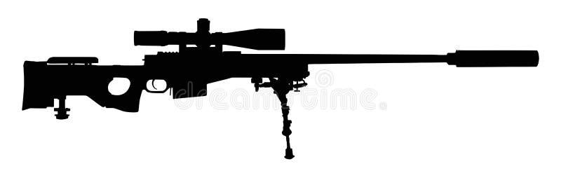 Silhouette de fusil de tireur isolé illustration de vecteur