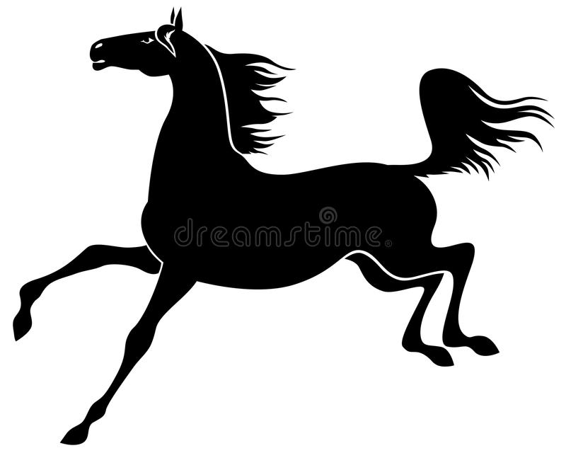 Silhouette de galoper gracieux de cheval illustration de vecteur