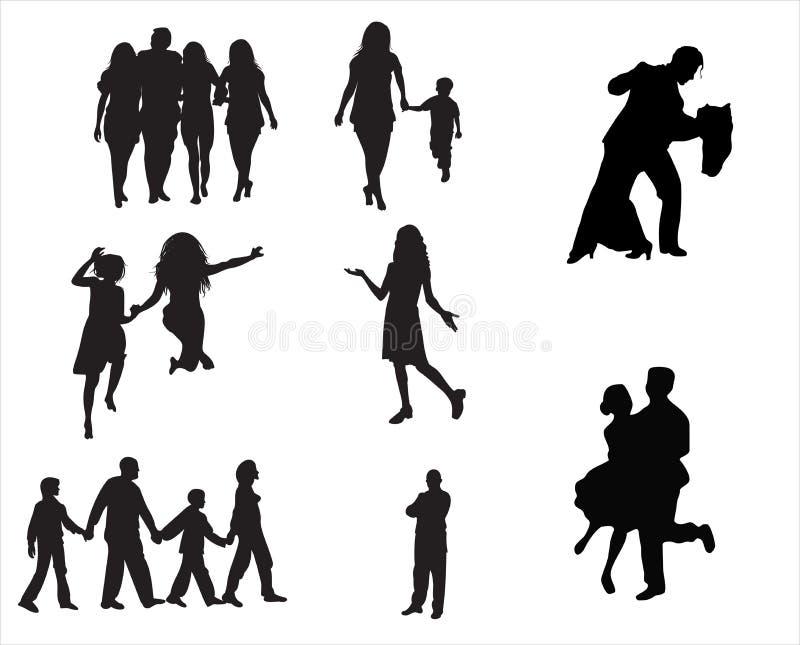 Silhouette de gens illustration stock