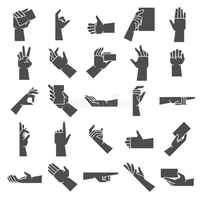 Silhouette de geste de main Dirigeant le geste de main, donnant la poignée et la prise ensemble disponible d'illustration d'icône illustration libre de droits