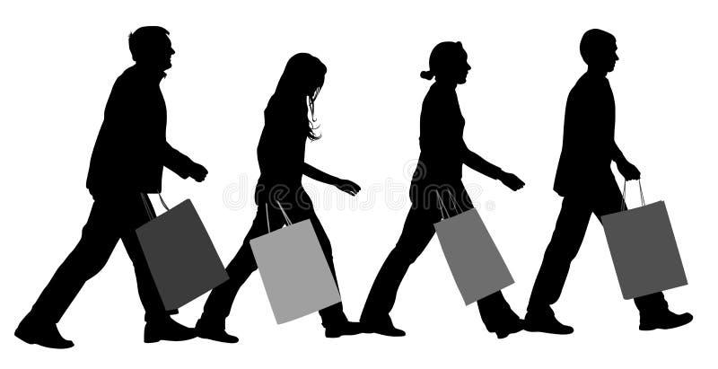 Silhouette de groupe d'achats illustration stock