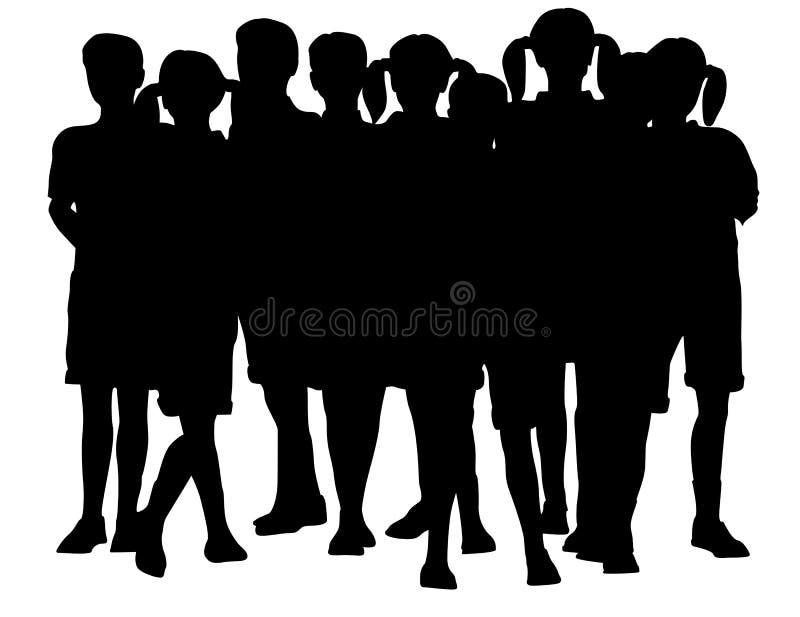 Silhouette de groupe d'enfants illustration de vecteur