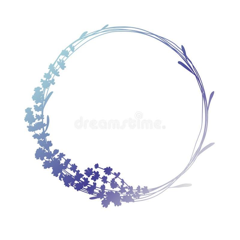 Silhouette de guirlande de lavande dans des couleurs bleues et pourpres, d'isolement sur le blanc illustration libre de droits