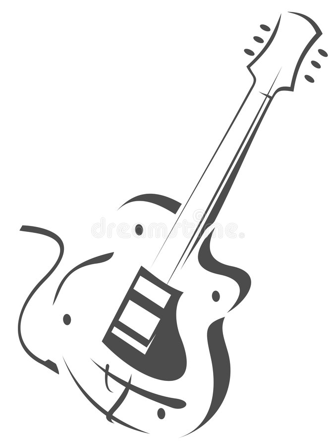 silhouette de guitare illustration stock