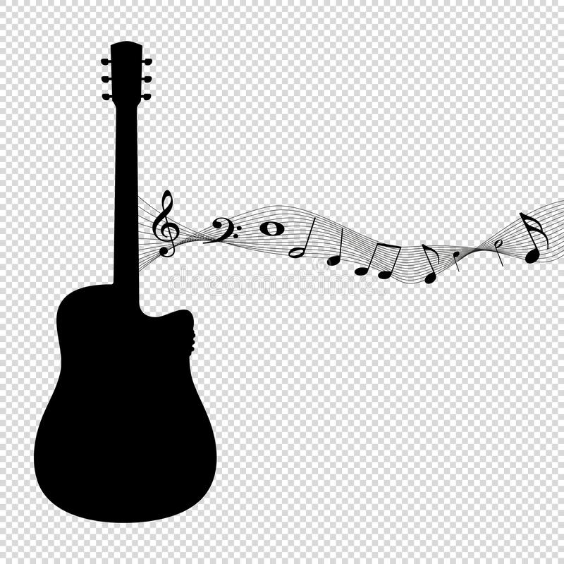Silhouette de guitare avec des notes de musique - illustration noire de vecteur - d'isolement sur le fond transparent illustration libre de droits