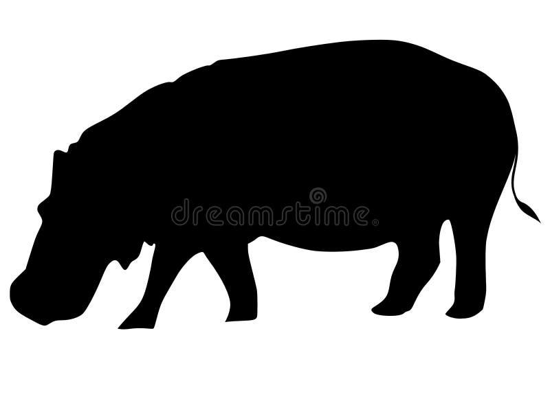 Silhouette de hippopotamus illustration libre de droits