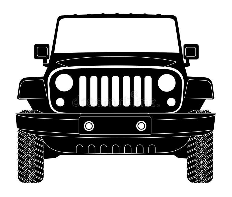 Silhouette de jeep dans l'avant illustration libre de droits