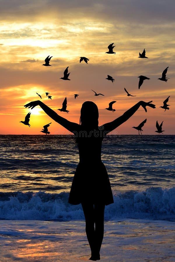 Silhouette de jeune femme avec des oiseaux sur le bord de la mer illustration stock