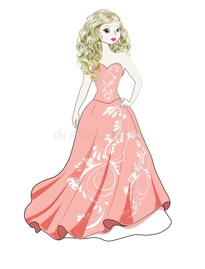 Silhouette de jeune mariée illustration stock