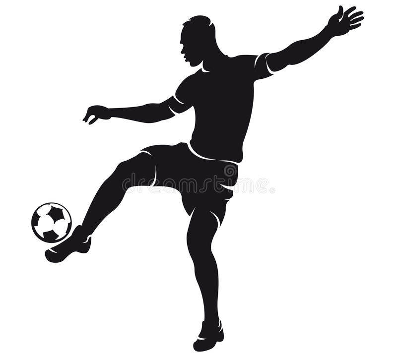 Silhouette de joueur de football de vecteur (le football) illustration stock