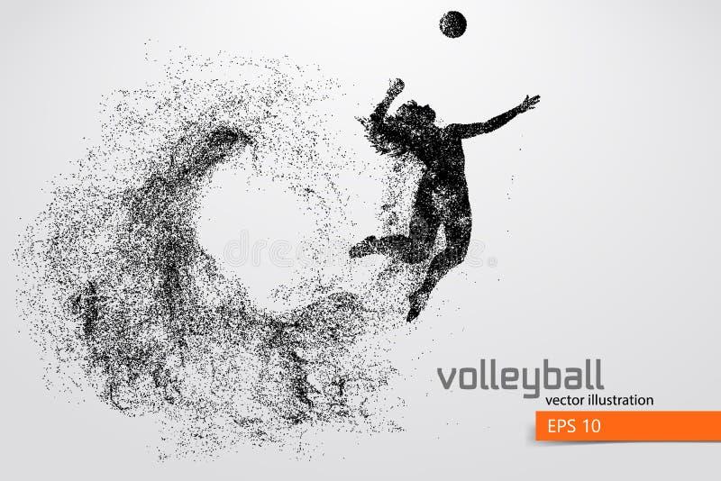 Silhouette de joueur de volleyball illustration stock