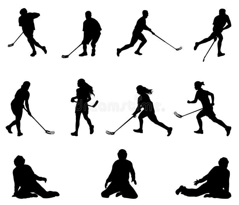 Silhouette de joueur de Floorball Hommes, femmes, gardiens de but illustration stock