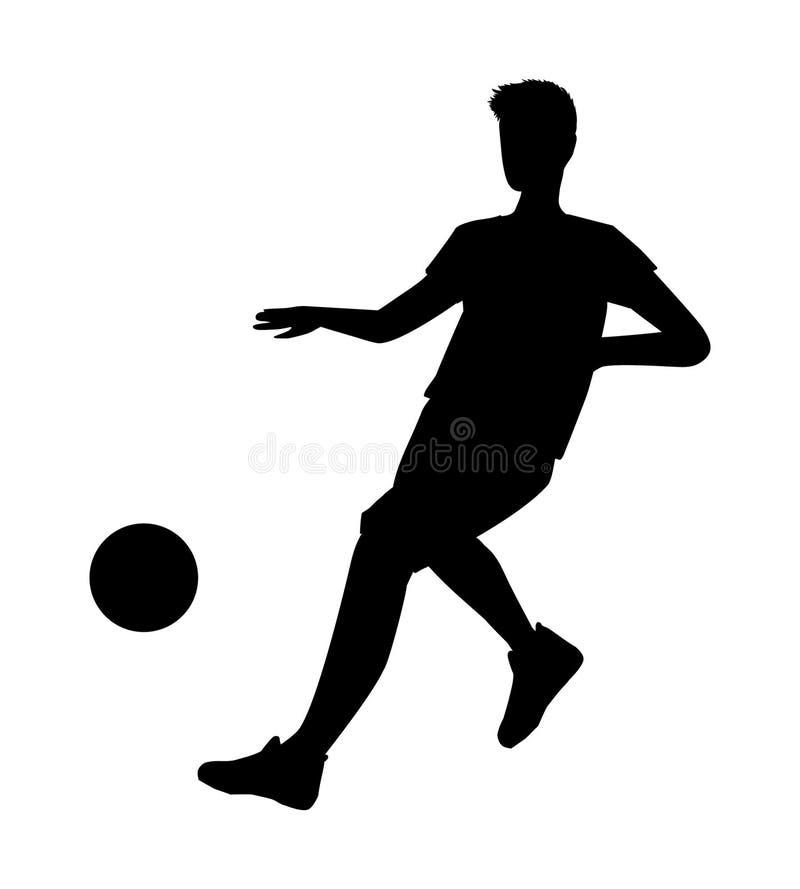 Silhouette de joueur de football - illustration de vecteur Coup-de-pied de footballeur d'homme sur la boule illustration stock