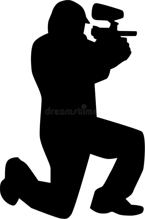 Silhouette de joueur de Paintball illustration stock